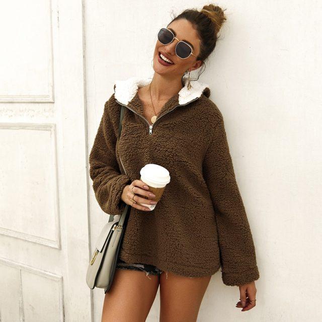 Lossky Hoodies Sweatshirts Women Long Sleeve Autumn Winter Teddy Plush Top Pocket Streetwear Female Zipper Pink Sweatshirt 2019