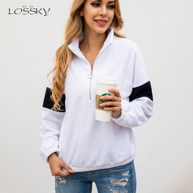 Lossky Women Sweatshirts Long Sleeve Stitching Warm Pullover Tops Zipper Autumn Winter Female White Streetwear Ladies Clothing