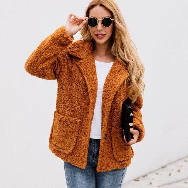 Lossky Women Flannel Jacket Coats Long Sleeve Plush Outwear Autumn Winter Warm Clothing Female Streetwear Ladies Jacket Buttons