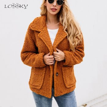 Lossky Women Flannel Jacket Coats Long Sleeve Plush Outwear Autumn Winter Warm Clothing Female Streetwear Ladies Jacket Buttons