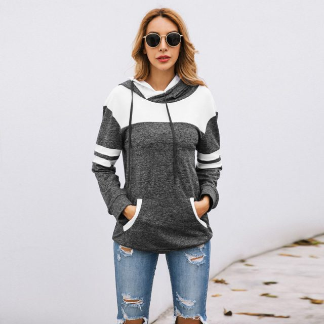 Lossky Hoodies Sweatshirt 2019 Women Autumn Long Sleeve Pullover Sweatshirts Top Female Patchwork Drawstring Sportswear Clothing