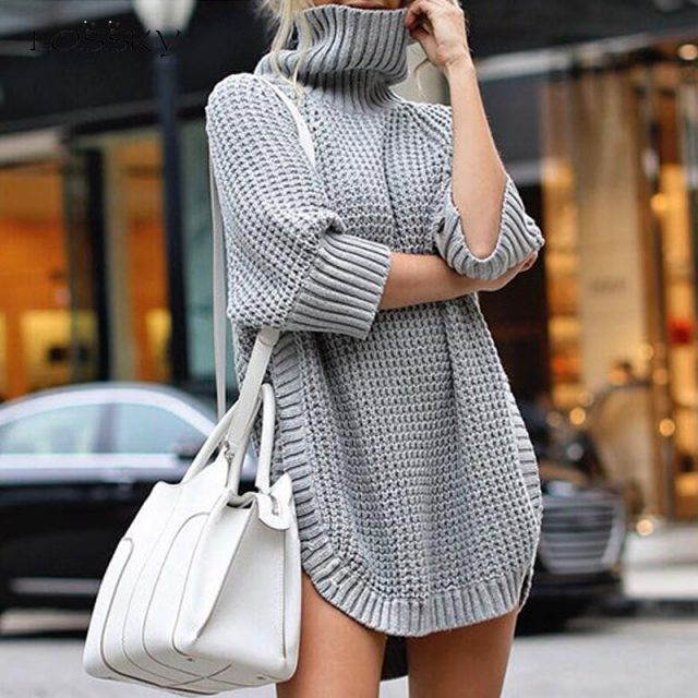 Lossky Sweater Women Autumn Winter Ladies Turtlneck Pullover Long Clothing Plus Size Warm Irregularly Knitted Streetwear Female