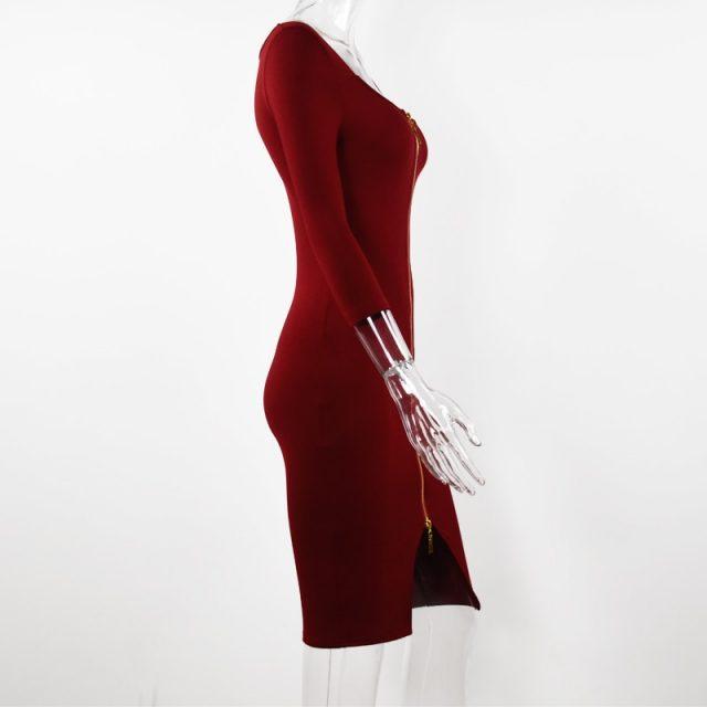 Lossky Women Sexy Club Low Cut Bodycon Dress Red Velvet Sheath 2019 Casual Autumn Winter Zipper Fashion Black Pure Dresses