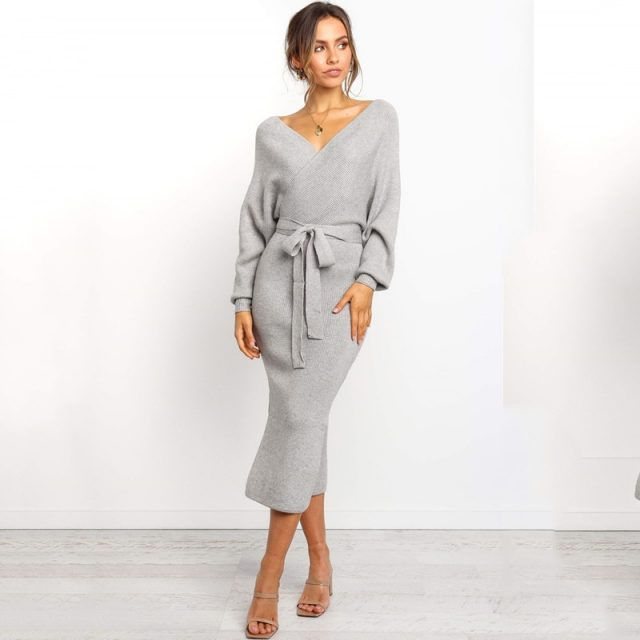 Lossky Women Long Dress Sexy Backless V Neck Wrap Side Slit Midi Dress Jumper New Autumn Winter Long Sleeve Ladies Warm Clothing