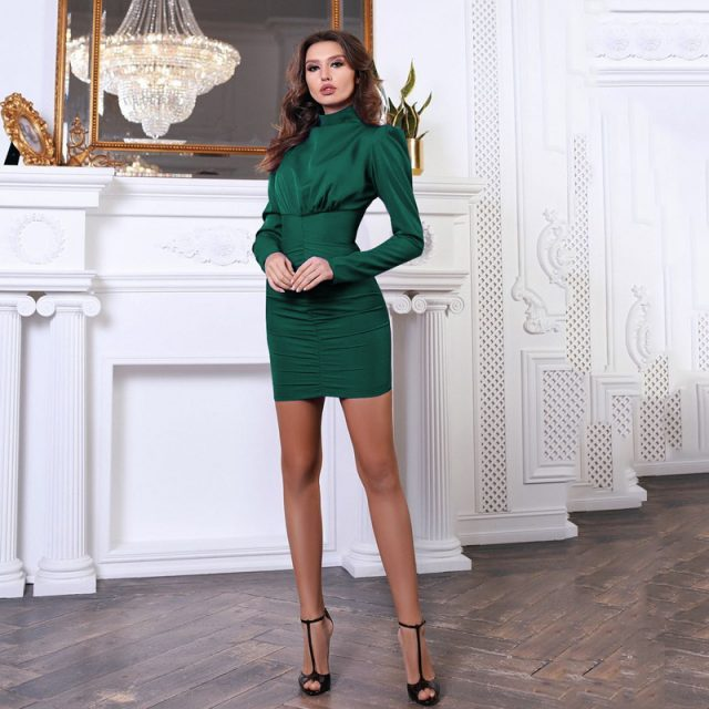 Lossky Women Autumn Winter Turtleneck Mini Dress Elegant Lady Long Sleeve Sexy Short Bodycon Clothing Tight Dress Zipper In Back