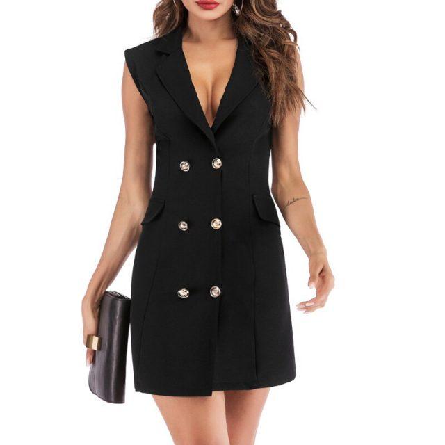 Lossky Women Dress Sleeveless Mini Blazer Dress New Autumn Spring Sexy Short Double-breasted V Neck Wrap Ladies Office Clothing