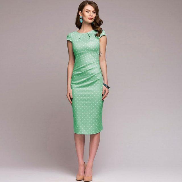 Lossky Women Summer Dress Polka Dot Print Red Ladies Vintage Dress Zipper Elegant Green Retro Clothes Femme Fashion 2019 Vestido
