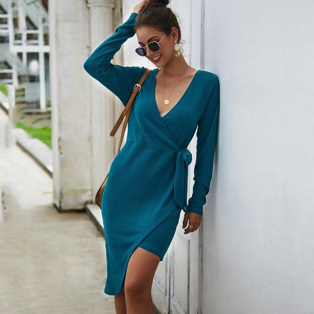 Lossky Women Autumn Winter Dress Sexy V-neck Wrap Fashion Asymmetrical Clothing Ladies Knit Long Sleeve Party Dress Elegant 2019