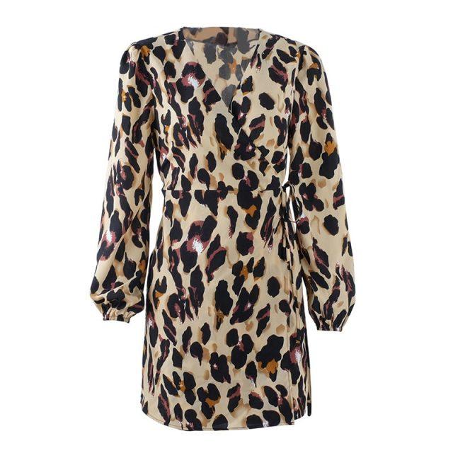 Lossky Short Dress Women Autumn Winter Fashion Leopard Print Sexy V-neck Wrap Long Sleeve Mini Dress Casual Ladies Clothing 2019
