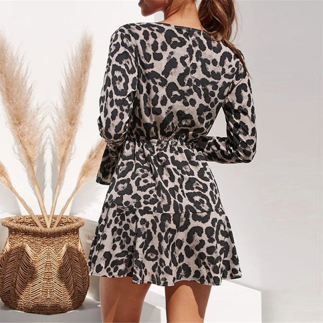 Lossky Leopard Print V-neck Wrap Sleeve Mini Dress Women Plus Size New Short Spring Autumn Gray Lady Dress Elastic Waist