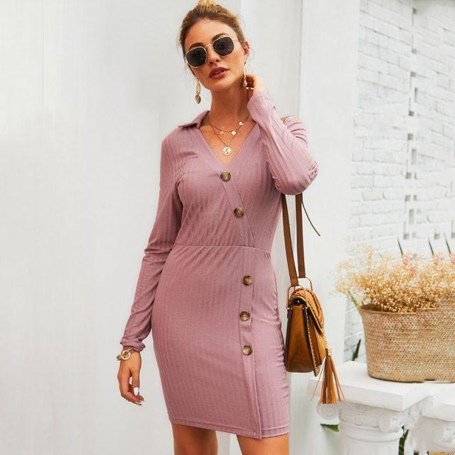 Sexy Long Sleeve KnitAutumn Short DressOffice Dress Work Wear With Slant Buttons