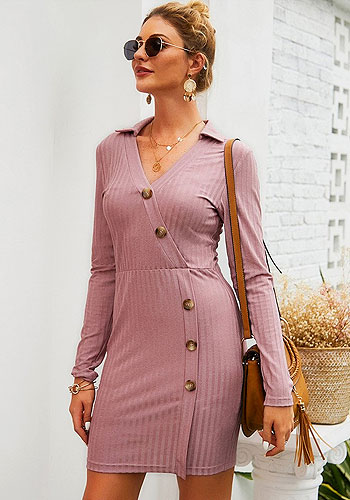 Sexy Long Sleeve Knit Autumn Short Dress Office Dress Work Wear With Slant Buttons