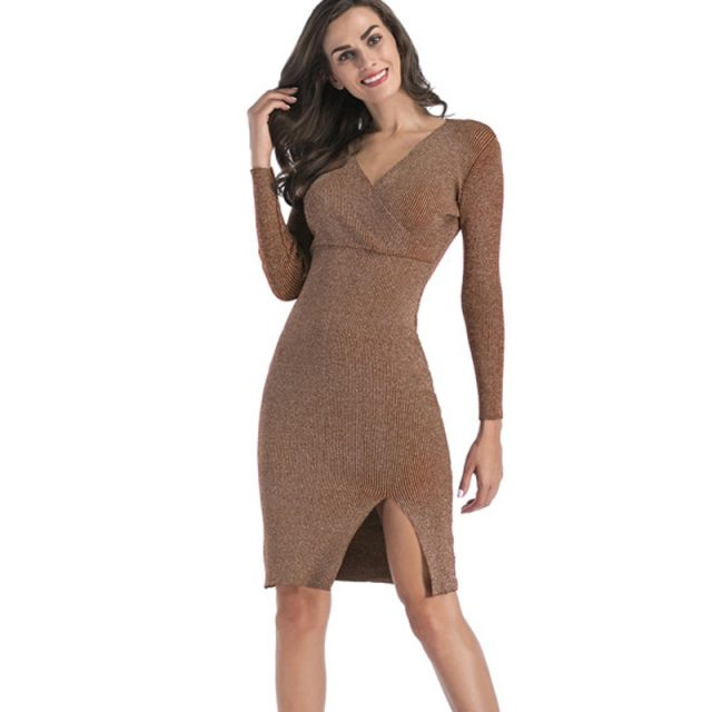 Lossky Dress Women Sexy V Neck Long Sleeve Warm Knitted Autumn Winter Jumper Dress Black Slit Party Clothing Dress High Quality