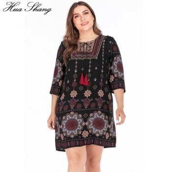 Plus Size Summer Dress 2019 Women Embroidery O Neck Floral Print Short Mini Dress Casual Loose Ladies Tunic Beach Dresses