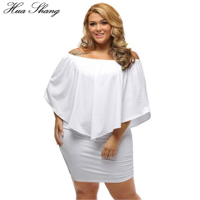 Hua Shang Women Summer Off Shoulder Dress Elegant Slash Neck Ruffles Slim Bodycon Party Dress Female Plus Size Women Clothing