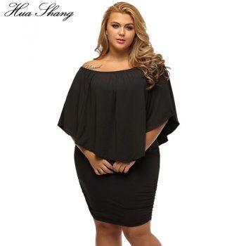 Hua Shang Women Summer Off Shoulder Dress Elegant Slash Neck Ruffles Slim Bodycon Party Dress Female Plus Size Women Clothing