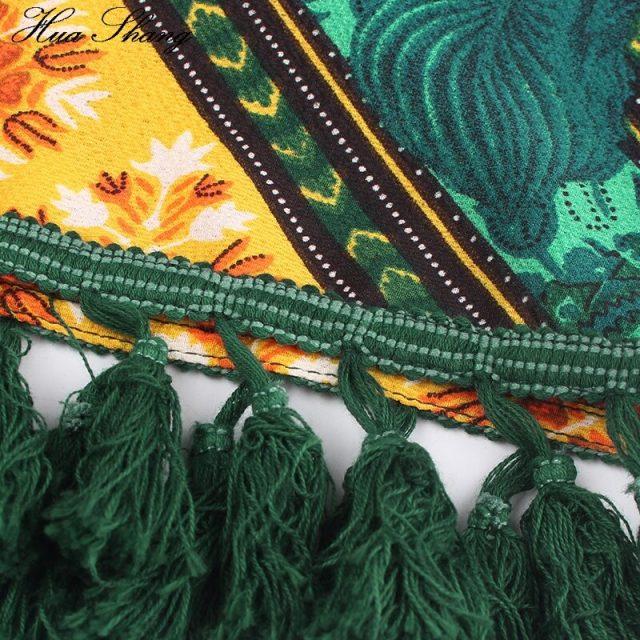 Floral Print Boho Holiday Dress Plus Size Women Summer V Neck Short Sleeve Lace Hollow Out Tassel Midi Dress Tunic Beach Dresses