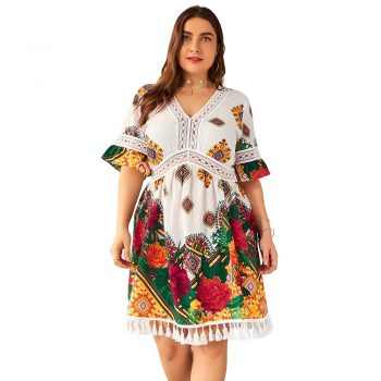 Floral Print Boho Holiday Dress Plus Size Women Summer V Neck Short Sleeve Lace Hollow Out Tassel Midi Dress Tunic Beach Dresses