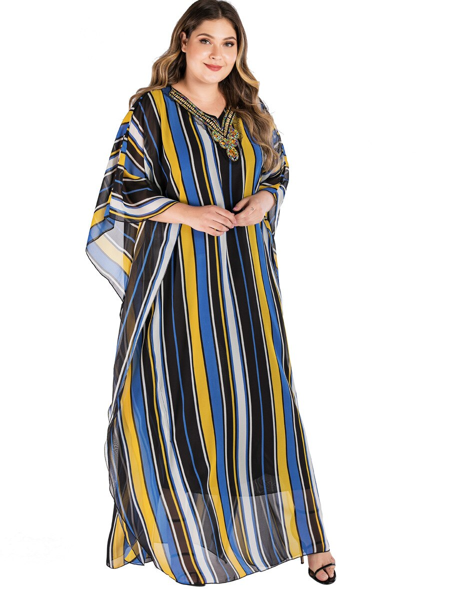 Colorful Striped Beach Dress Women Summer Beading V Neck Batwing Sleeve Maxi Long Dress Tunic Loose Oversized Muslim Dresses