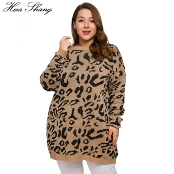 Leopard Casual Sweater Woman Autumn 2019 Winter Long Sleeve Knitted Loose Oversized Plus Size Long Sweaters Women Pullovers