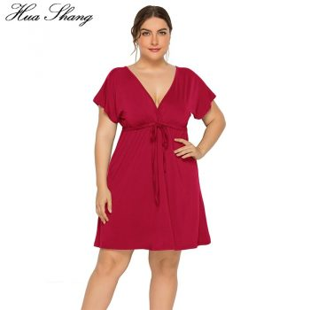 Plus Size Women Dress 2019 Fashion Summer V Neck Short Sleeve V Backless Sexy Party Dress High Waist Ladies Tunic Mini Dresses