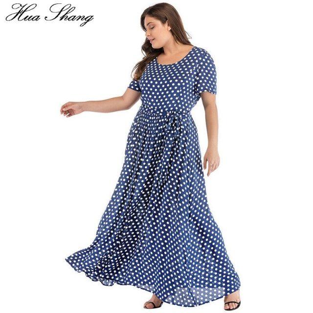 Plus Size Dress Women Summer Short Sleeve Polka Dot Print Boho Beach Dresses Belted Ladies Tunic Loose Oversized Maxi Long Dress