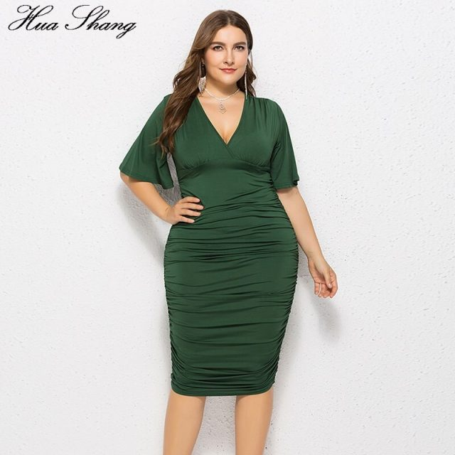 Blue Mini Party Dresses Women Summer V Neck Flare Short Sleeve Sexy Pencil Dress Plus Size Bodycon Evening ClubWear Party Dress