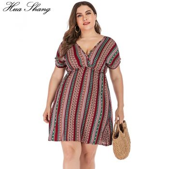 Retro Printing Beach Dress Plus Size Women Summer V Neck Short Sleeve Striped Floral Print Boho Dress Backless Sexy Mini Dresses