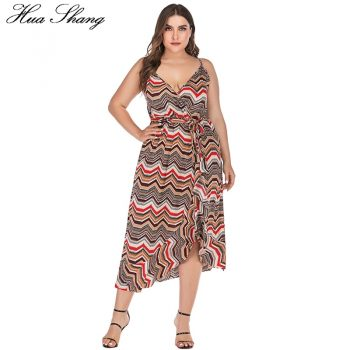 Retro Striped Print Bohemian Dress Women Summer V Neck Sleeveless Strap Irregular Dress Maxi Women Backless Beach Dresses