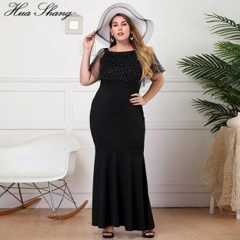 Plus Size Party Dress Women Summer Ruffles Slash Neck Short Sleeve Slim Bodycon Mermaid Dress Black Ladies Maxi Long Dresses