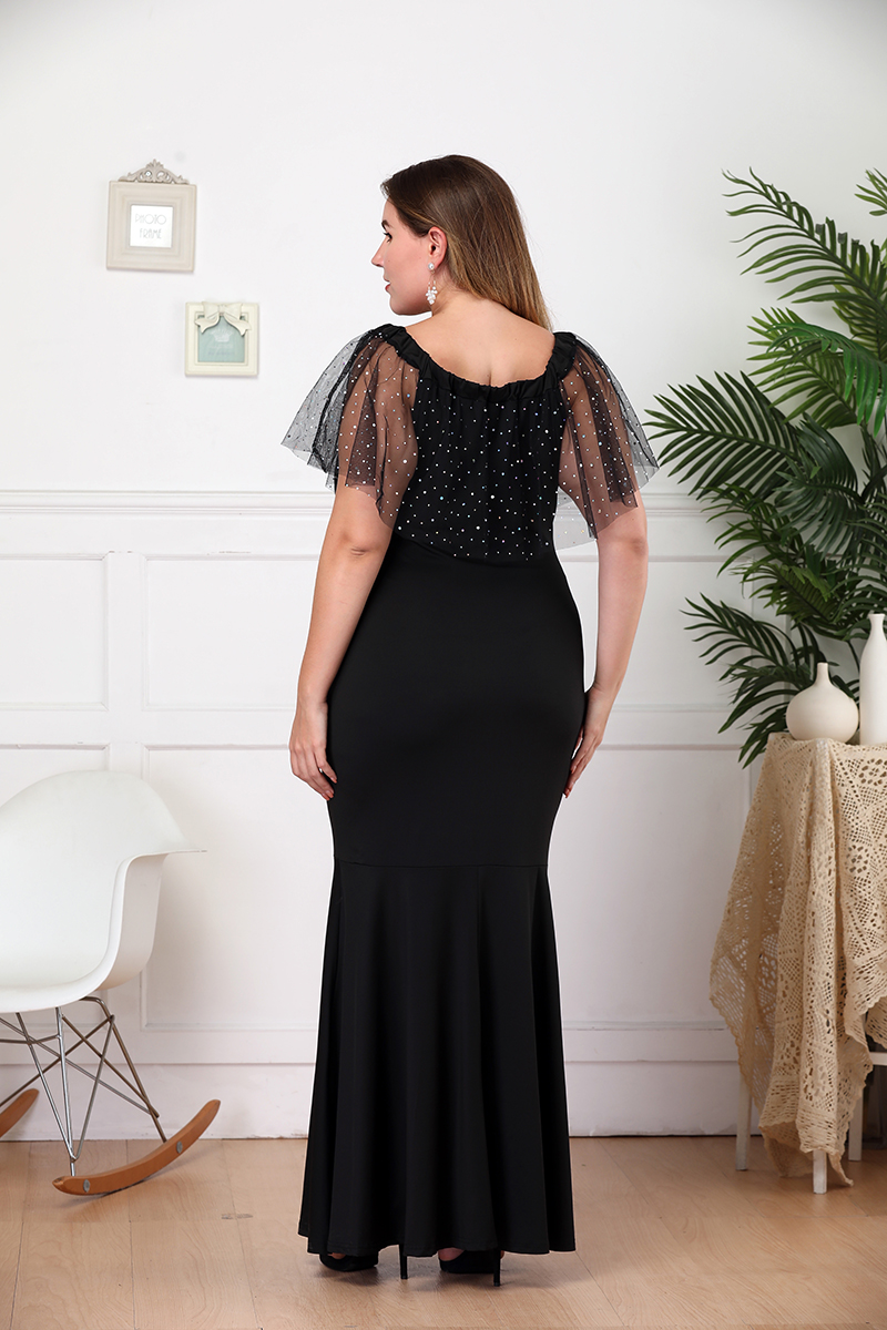 Plus Size Party Dress Women Summer Ruffles Slash Neck Short Sleeve Slim Bodycon Mermaid Dress Black Ladies Maxi Long Dresses