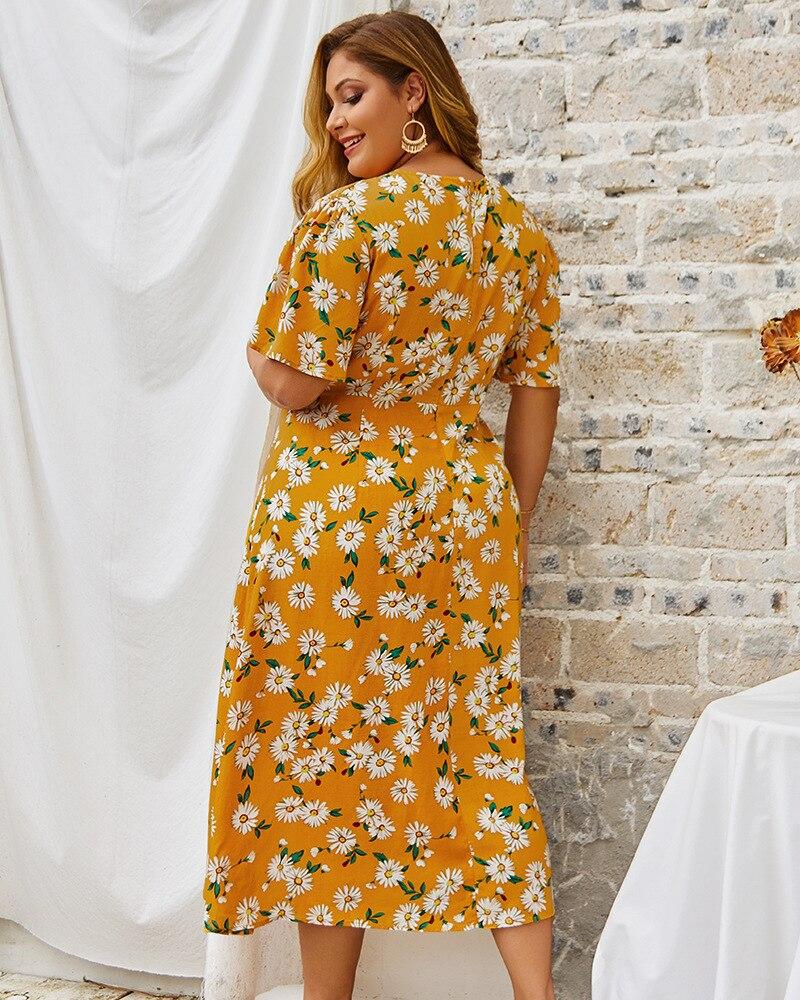 Floral Print Boho Beach Dress Women 2019 Summer V Neck Short Sleeve Buttons Split Maxi Long Dress Plus Size Women Clothing
