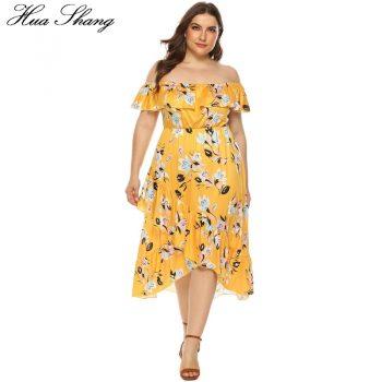 Off Shoulder Dress Plus Size Women Summer Ruffles Slash Neck Short Sleeve Floral Print Boho Beach Dresses Tunic Irregular Dress