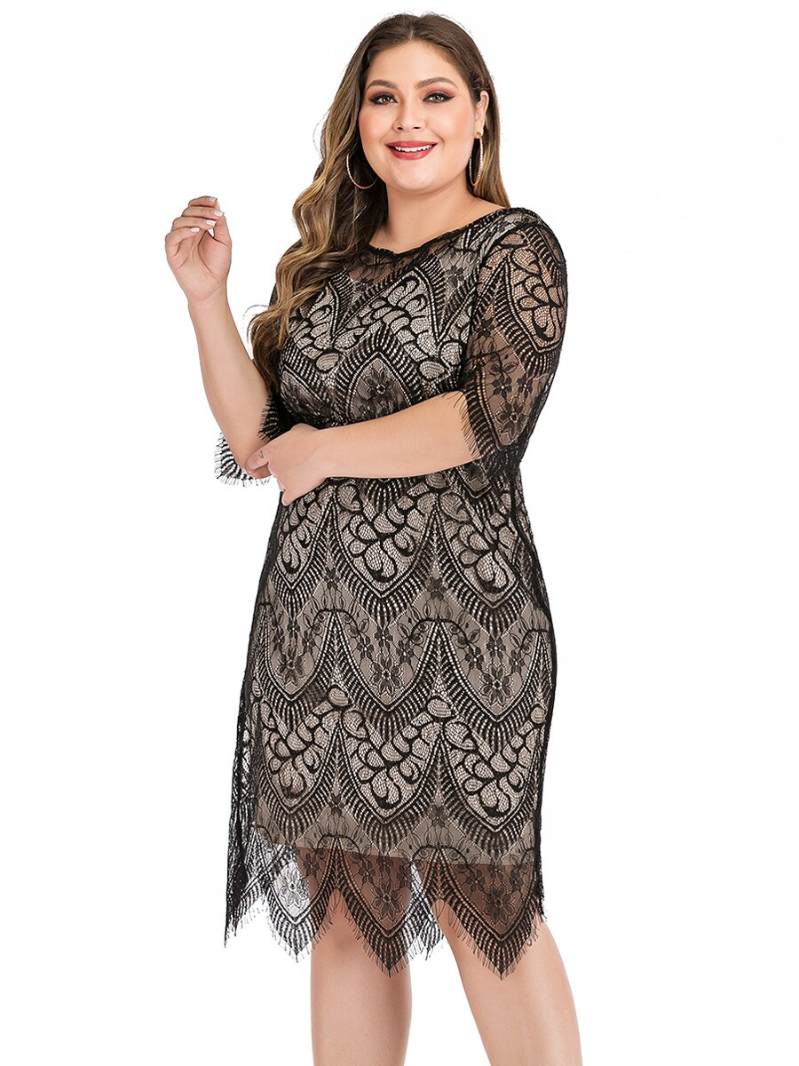 6XL Plus Size Lace Dress Women Summer O Neck Half Sleeve Lace Floral Midi Dress Knee Length Ladies Slim Bodycon Pencil Dresses