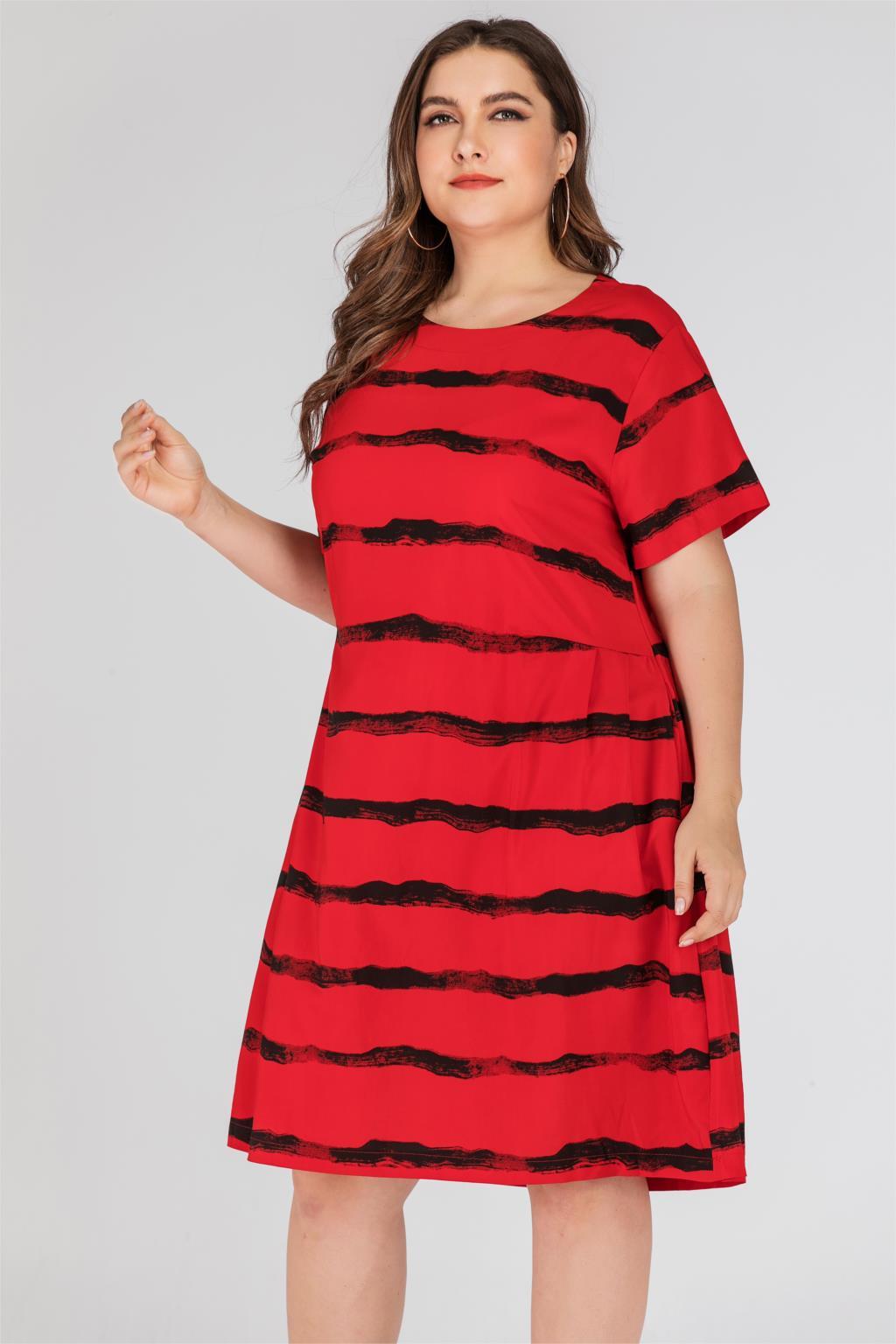 Plus Size 5XL Casual Dress Women Summer Short Sleeve Striped Print Loose Oversized Dress Knee Length Ladies Tunic Midi Dresses