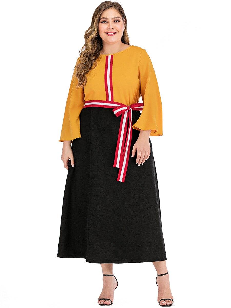 Long Sleeve Dress Women Summer O Neck Flare Sleeve Multicolor Elegant Dress Plus Size Belted Ladies Tunic Maxi Long Dresses