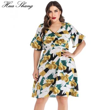 Plus Size Women Dress Summer V Neck Flare Short Sleeve Floral Boho Midi Dress Knee Length High Waist Ladies Tunic Beach Dresses