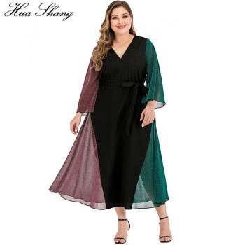Contrast Multicolor Elegant Dress Women Summer V Neck Flare Long Sleeve Maxi Long Dress Plus Size Ladies Tunic Beach Dresses