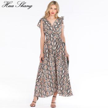 Snake Print Summer Dress Women 2019 Fashion Streetwear V Neck Sleeveless High Waist Long Boho Dress Backless Sexy Party Dresses