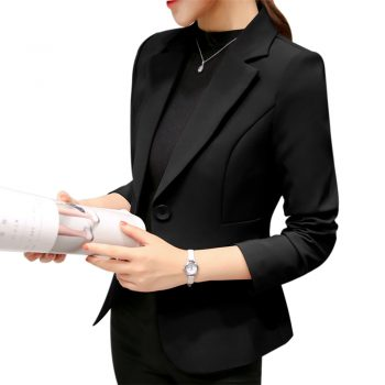2019 Black Women Blazer Formal Blazers Lady Office Work Suit Pockets Jackets Coat Slim Black Women Blazer Femme Jackets S-2XL