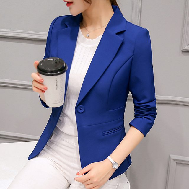 2019 Black Women Blazer Formal Blazers Lady Office Work Suit Pockets Jackets Coat Slim Black Women Blazer Femme Jackets S-2XL