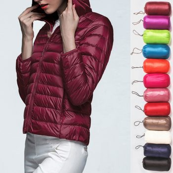 Women's Down Jacket Ultra Thin Down Packable Hooded Warm Jacket Long Sleeve Slim Parka Female Solid Portable Outwear Coat Winter