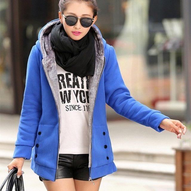 2019 Spring Autumn Women Plus Size Multi-Colors Jackets Casual Warm Thicken Coat Fleece Jackets Hooded Hoodies Streetwear