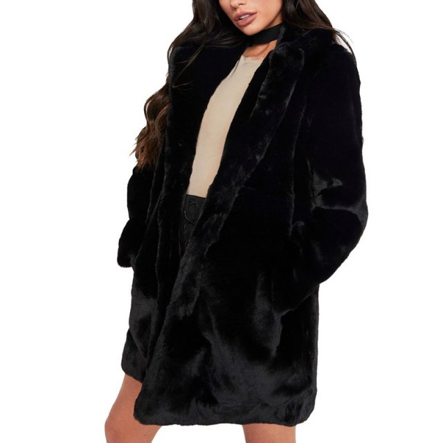 Thicken Faux Fur Coat Women Autumn Winter Warm Soft Loose Fleece Faux Jacket Lady Mid-length Lapels Plush Casual Overcoat