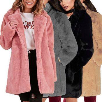 Thicken Faux Fur Coat Women Autumn Winter Warm Soft Loose Fleece Faux Jacket Lady Mid-length Lapels Plush Casual Overcoat