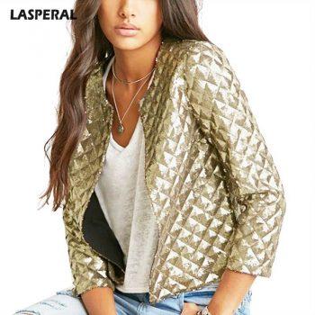 Fashion Women Gold Sequins Jackets Street Wear Cardigan Jacket Three Quater Sleeve Fashion New Autumn Female Coats