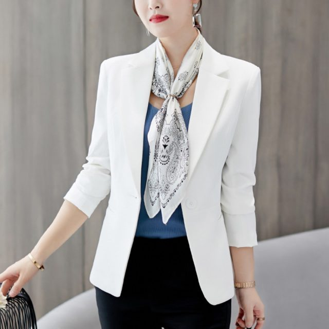 Korean version of the small suit jacket female autumn spring new female Slim long sleeve office pure color large size suit S-2XL