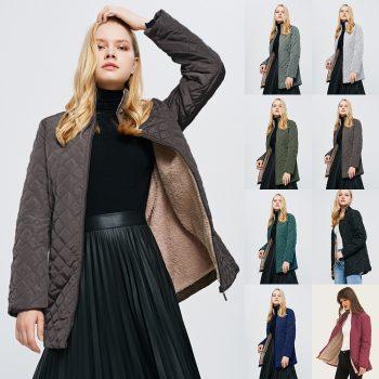 New Basic Coats Female Hooded Long-sleeved Light Cotton Coat Women Straight Through Collar Cotton Winter Plus Outwear Jacket