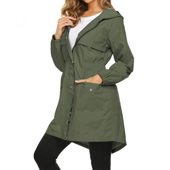 2019 Autumn And Winter Womens Rain Coat Lightweight Hooded Long Raincoat Outdoor Breathable Rain Jackets Waterproof Jackets