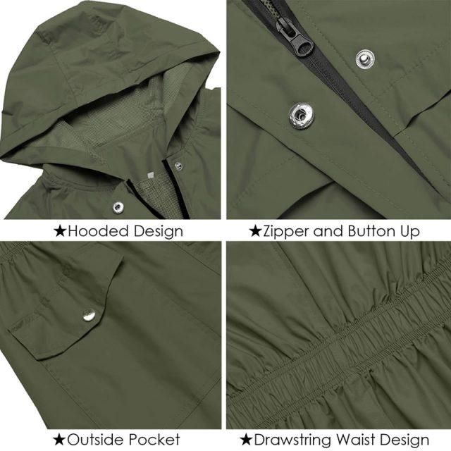 2019 Autumn And Winter Womens Rain Coat Lightweight Hooded Long Raincoat Outdoor Breathable Rain Jackets Waterproof Jackets